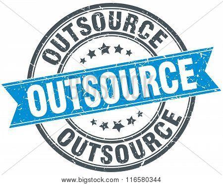 outsource blue round grunge vintage ribbon stamp