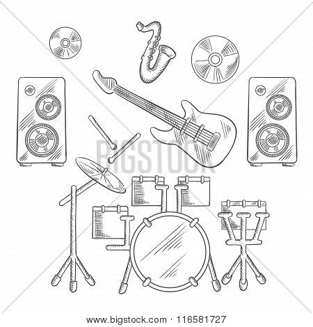 Musical band instruments sketches set