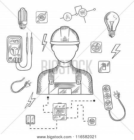Professional electrician with tools and equipment