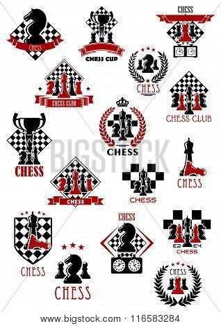 Chess sport game icons, emblems and symbols
