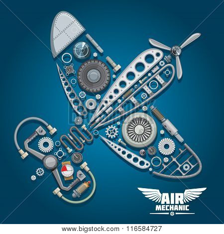 Retro propeller airplane, composed of wings body, reduction gear, propeller, pilot control wheel, pressure hoses, distributor valve, landing gear, colorful gauges, bolts and screws poster