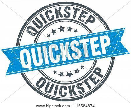 quickstep blue round grunge vintage ribbon stamp
