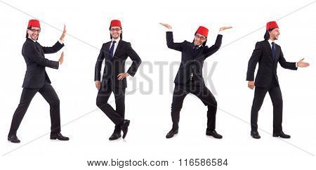 Man wearing fez hat isolated on white