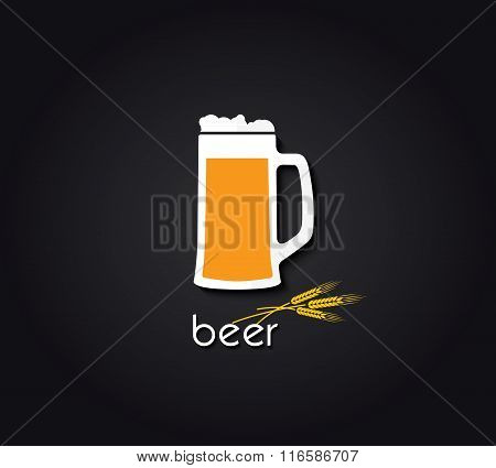 Creative Design  With Beer Mug. Vector Illustration