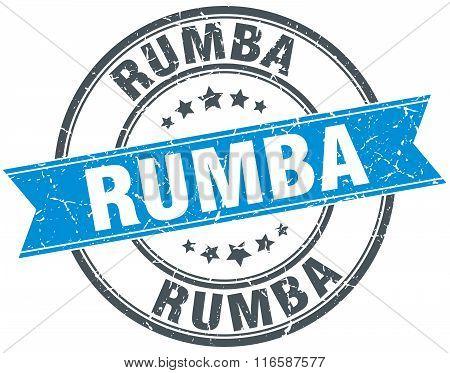 rumba blue round grunge vintage ribbon stamp