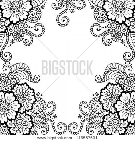 Black flower frame, lace ornament.  Love concept for Valentines Day or Wedding design.