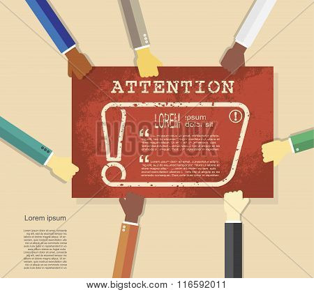 Hands Holding Poster With Exclamation Mark. Attention Sign Icon. Hazard Warning Symbol, Vector Illus
