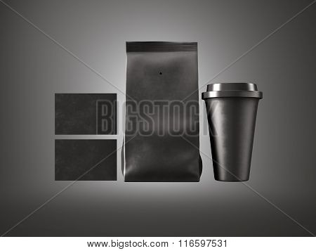 Set of paper package, coffee cup and two blank business cards. Black background. Horizontal. 3d rend