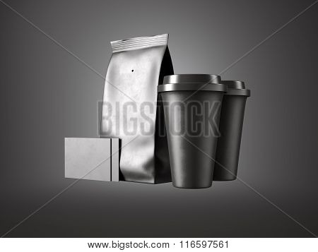 Set of paper package, coffee cups and two blank business cards. 3d render