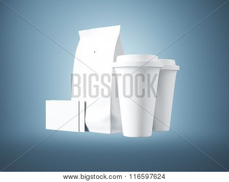 Set of white paper package, coffee cups and two blank business cards. 3d render