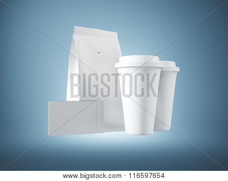 Set of white paper package, coffee cups and two blank business cards. Blue background. 3d render