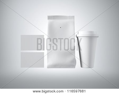 Set of coffee package, take away cup and two blank business cards. White background. 3d render