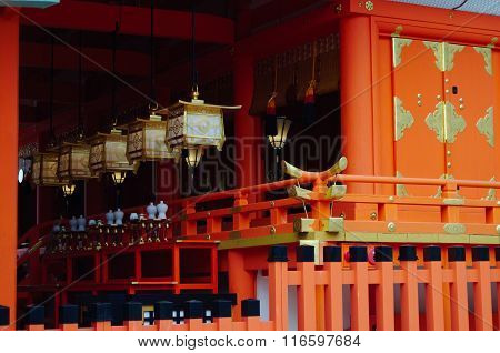 Japanese Lanterns In Fushimi Inari Shrine