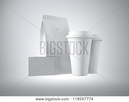 Set of blank paper package, take away cups and two empty business cards.  3d render
