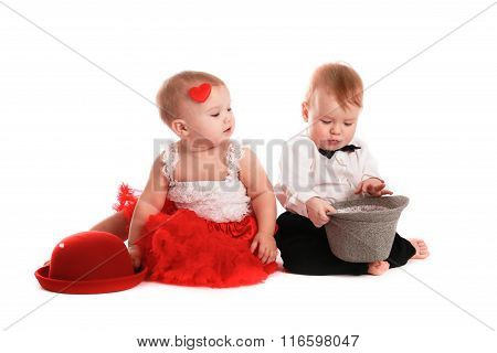 Girl Red Skirt Hat And  Boy Hat, Love, Valentine's Day