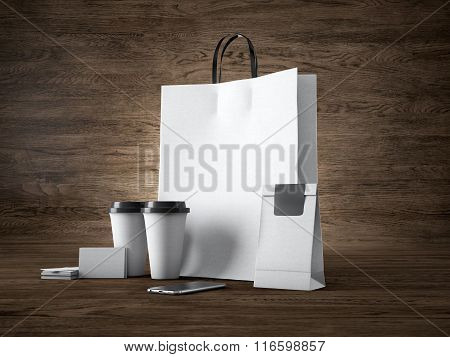 Set of white shopping bag, take away cups, paper package, blank business cards and generic design sm