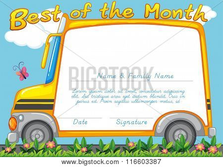 Certificate design with school bus background illustration
