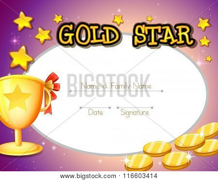 Certificate design with golden coins and trophy illustration