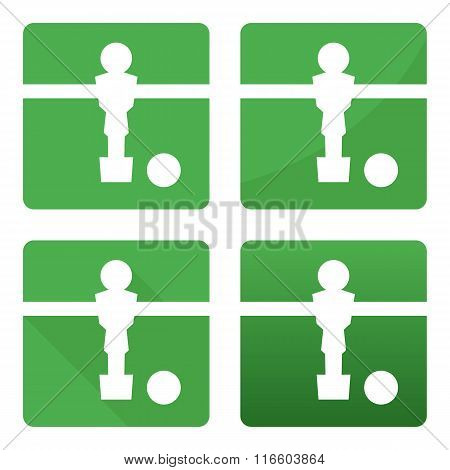 Soccer kicker table white football player and ball icon set on green background