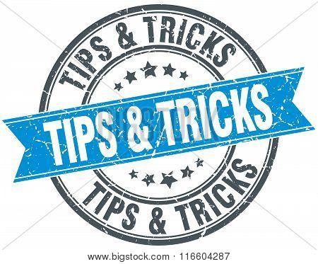 tips & tricks blue round grunge vintage ribbon stamp