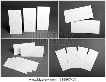 Set of Blank white flyers over gray background. Identity design. Flyer Mockup. Corporate templates.