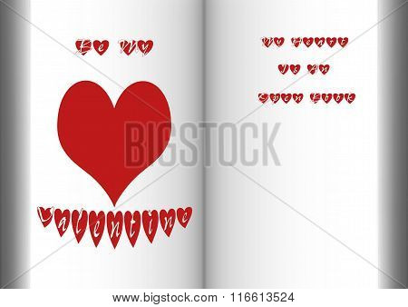 Open Book With Heart And Valentine Message