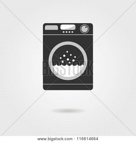 black washing machine with shadow