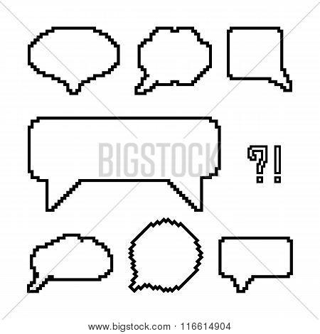 set of white pixel outline speech bubbles