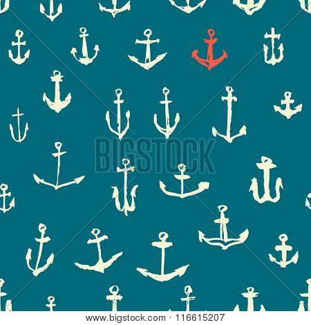 Anchors Vintage painted seamless pattern