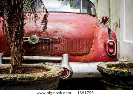 Old Red American Car