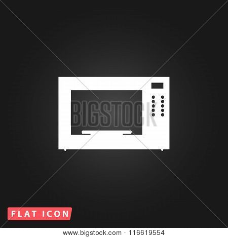 Microwave oven. White flat simple vector icon on black background poster