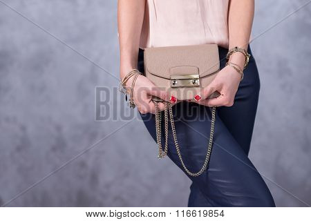 Bags Fashion Trends. Close Up Of Gorgeous Stylish Bag. Fashionable Woman Is Holding A Trendy Bag. St