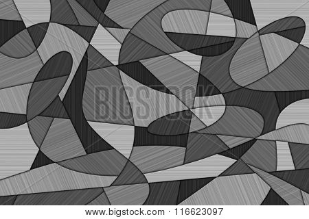 A Cubist Abstract Background with Swirling Lines and Brushed Metal Texture