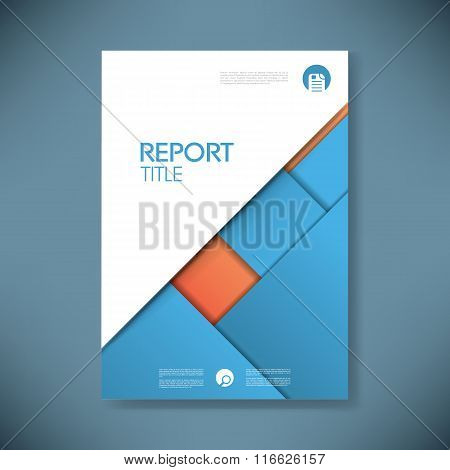 Business report cover template on blue material design background. Brochure or presentation title pa
