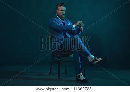 Elegant Retro Style Gentleman With A Cane