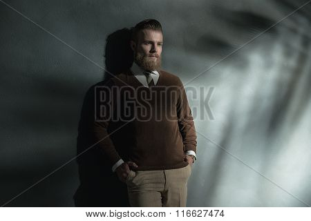 Handsome Relaxed Man With A Thoughtful Expression