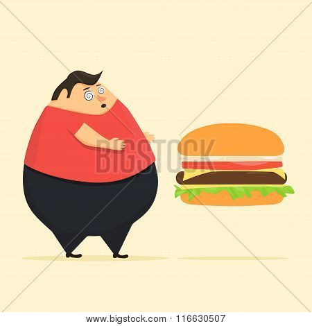 Fat man in state of hypnosis wants burger