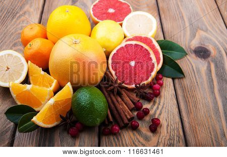 Fresh Citrus Fruits With Spices
