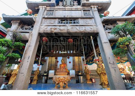 Main Hall, Thailand Style Belfry (thai Bell Tower) And Natural Stone Carve Granite Chinese Pagoda In