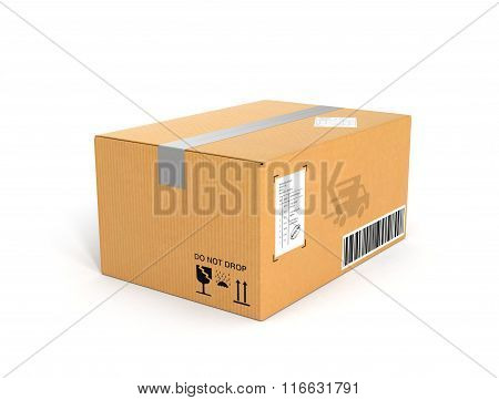 Global Packages Delivery And Parcels Transportation Concept, Cardboard Box On White Background