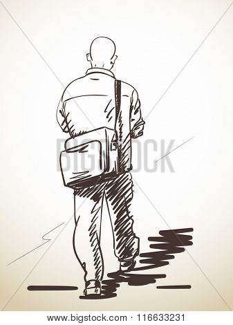 Sketch of walking baldheaded man, Hand drawn illustration