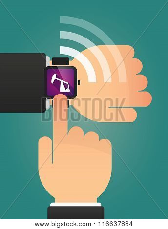 Hand Pointing A Smart Watch With A Horsehead Pump