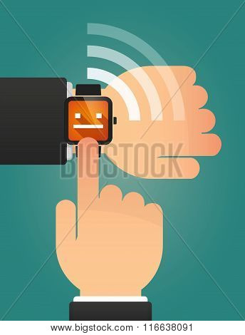 Hand Pointing A Smart Watch With A Emotionless Text Face