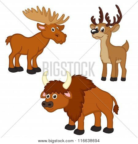 set of isolated with elk, deer, bison