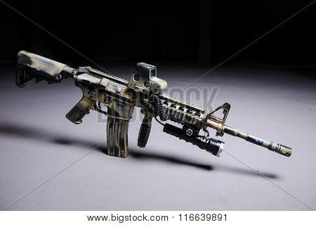 Automatic Rifle With Led Flashlight