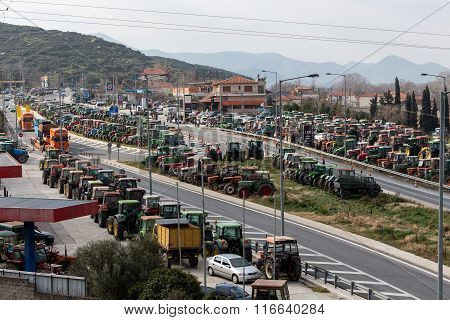 Protesting Farmers From The Agricultural Region Of Thessaly Arrive With Their Tractors In Tempe Vale
