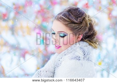 Beautiful Girl With White Headscarf In The Winter