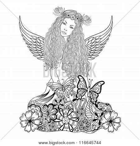 Forest fairy with wings and wreath on the head, young beautiful