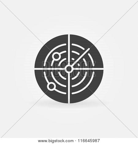 Dark radar icon or logo