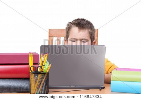Top Of Head For Child Studying Between Books